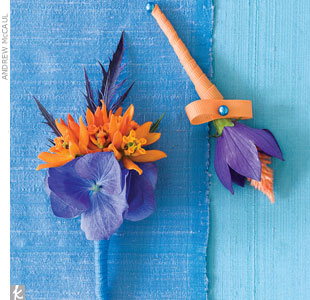 Spiky flowers give boutonnieres a more masculine feel.Go behind the scenes of this photo shoot