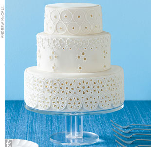How do you keep an eyelet-inspired, all-white cake from looking 