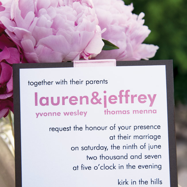 Lauren and Jeff chose brown and white card stock invitations printed in white and brown ink and decorated with a pink silk ribbon.