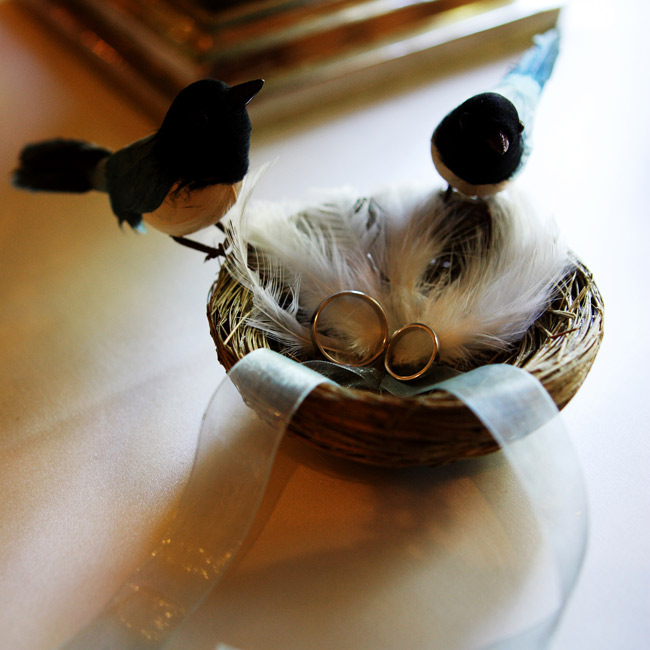 The bride and groom's rings were held in a  small, feathered and beribboned nest with two birds perched on the edge.