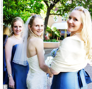 Cathy's bridesmaids chose their own dresses from the Jenny Yoo Collection. All wore different styles of the same length in blue silk shantung.
