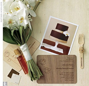 Here, crisp neutrals shape a stylish eco-friendly fete. To get the look, we used Benjamin Moore's Brown Tar and China White paint chips.   Stark white phalaenopsis orchids are the perfect blooms for a simple, light bridal bouquet. For a classic, green wedding, shop for eco-friendly and socially responsible wedding bands; get laser-engraved wood ven ...
