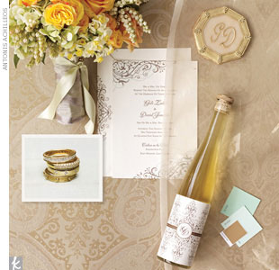 Muted greens and metallics soften up a formal wedding. The inspiration for this wedding day style came from the ornate scrollwork from a beautiful invitation. To help you plan, find paint chips to create your color palette -- we used Benjamin Moore Leisure Green, Spruce Green, and Fool's Gold.