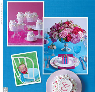Get a garden-pretty wedding using a palette of raspberry and aqua. The exact paint chip colors we used were Benjamin Moore's Hot Lips and Toronto Blue. The most inspiring wedding day detail in this collection? Oh-so-cute pink monogrammed mini cakes.