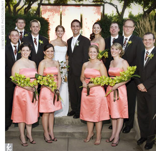 The groomsmen wore the same chocolate-brown Calvin Klein tuxedo as the groom but sported brown, diagonally striped BCBG ties and green cymbidium orchid boutonnieres. The bridesmaids stood out in refreshing ARIA salmon Duchesse satin dresses with mocha piping. They carried bouquets of green cymbidium orchids with mocha ribbon.