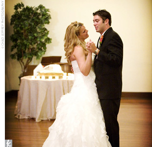 """""""We hired a six-piece band to play at our reception,"""" says Jennifer. """"Our first dance was to 'You Had Me From Hello' because it just seemed to fit our story so well."""""""