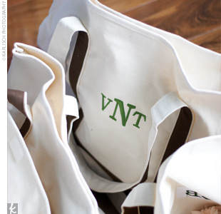 The couple gave monogrammed tote bags as gifts.