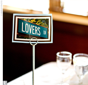 "Tables at the reception were named after streets in New Hampshire that have special meaning to the couple. Sarah and Sam sat at the ""Lover's Lane"" table."