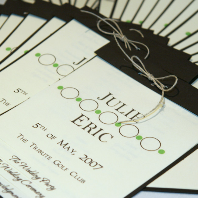 Julie and Eric created their programs themselves, with ivory pages and a chocolate brown, card stock cover. They secured each with a hemp bow.