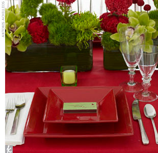 Get the look with modern floral arrangements boasting major graphic appeal. Then, layer the dominant color -- we chose red -- on your table. Rectangular vases of lime green cymbidium orchids, red-painted crespedia, green sweet William, and red French cockscomb make up the eye-catching centerpieces.