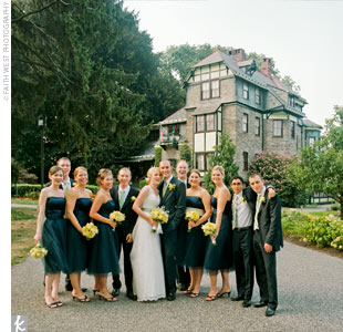 Navy Blue Bridesmaid Dress on Five Bridesmaids Wore Strapless  Navy Blue  Satin  Tea Length Dresses
