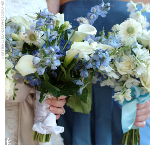 Abbey carried a hand-tied cluster of white miniature calla lilies, white freesias, blue scabiosas, and blue delphiniums. The stems were tied together with a white ribbon.