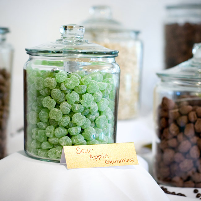 A candy bar, made up of chocolate brown and green sweets, charmed guests at the reception.
