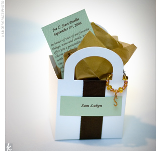 In honor of their Napa Valley engagement celebration, Staci and Joe gave their guests personalized wine charms that Staci handmade out of wire rings and beads. She packaged them in tiny boxes and printed thank-yous on green card stock to go inside.