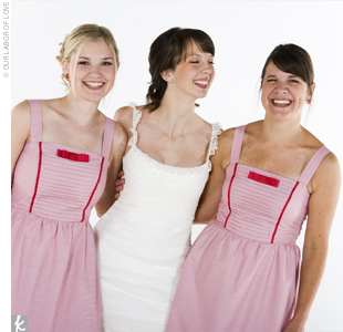 Ashley's gift to her two bridesmaids was the red-striped Betsey Johnson dresses and Mary Jane-style shoes they wore at the wedding. Each dress featured a red bow at the bustline.