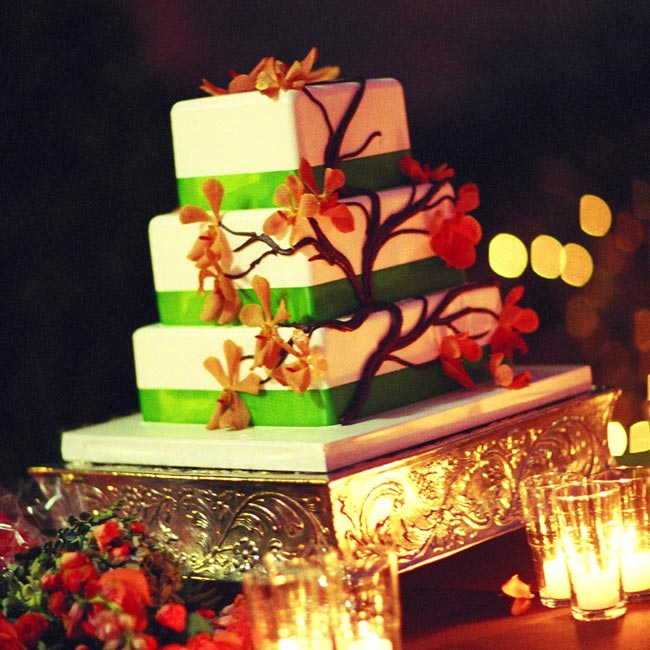 The couple chose a three-tiered square cake decorated with brown chocolate branches and green satin ribbon around the base of each tier. The chocolate cake had mocha latte filling and vanilla, Bavarian cream icing.