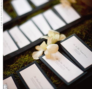 The escort cards were displayed on a bed of moss, creating a floating lily pad pond effect, Jennifer says.