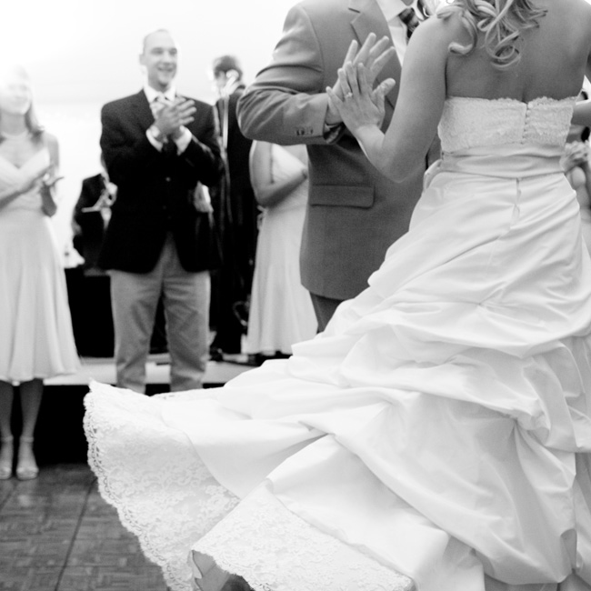 """Mike surprised me two months prior to our wedding by hiring a dance instructor to choreograph our first dance,"" Lauren says. The couple impressed their guests by doing a two-step to ""Will You Go With Me"" by Josh Turner."