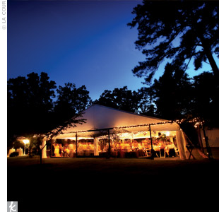 Dinner was served under a tent decorated with romantic white twinkle lights.