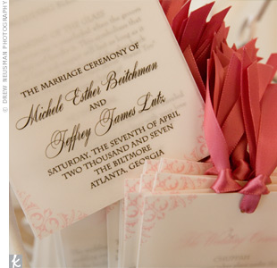The pink and white programs used the same swirl design that adorned the invites. Michele and Jeff used the programs to explain the Christian and Jewish traditions that the couple had included in the wedding ceremony.