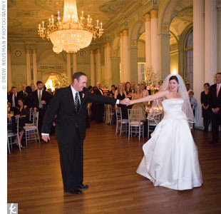 "The couple's first dance was to ""Time After Time"" by Cyndi Lauper."