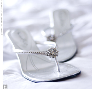 Jeweled thong sandals were the perfect complement to Katie's gown.