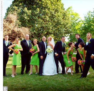Jane's bridesmaids wore green knee-length dresses from J.Crew. Each