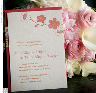 The invitations played a huge role in how everything was designed and presented, explains Mary. The letterpress-printed invites had a pink and orange peony motif, and the envelopes were a vibrant orange color. The mood of the invitations was bright, fun, and quirky, she says.