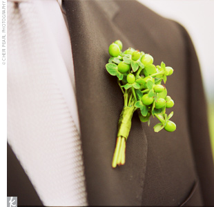 Kevin wore a classic, black Canali suit with a silver tie and a green hypericum berry boutonniere.