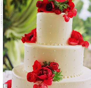 Stefanie and Kevin chose Italian cream cake with blackberry mousse filling, iced with Italian cream. The all-white cake was decorated with bright red anemones and begonias.