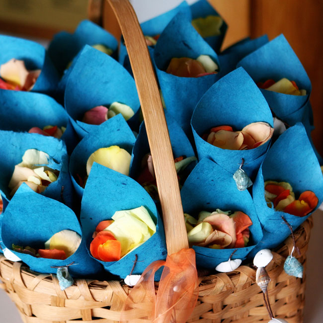 Blue paper cones were filled with rose petals for guests to toss as the newlyweds made their exit.