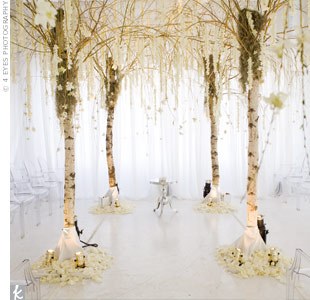 Shari and Evan's ceremony area was marked with a series of eight tall trees adorned with fresh white orchids. Plexiglas chairs for the guests provided a chic addition to the room.