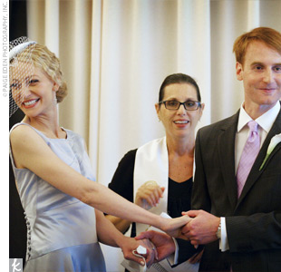 The officiant customized the ceremony for Angellique and Adrian, who wrote their own vows. One of the groom's friends provided an eclectic mix of music for the personalized ceremony via an iPod, which played tunes by Madeleine Peyroux and Thievery Corporation.