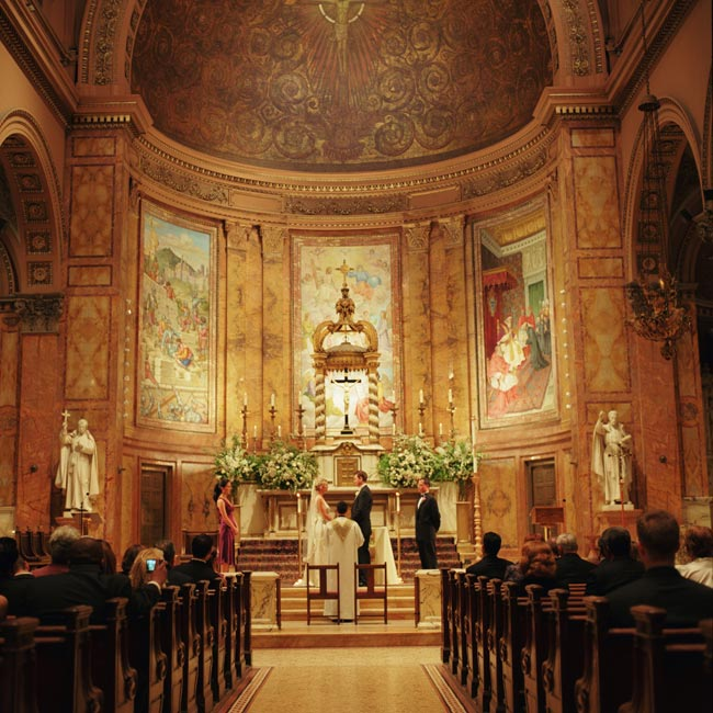 The couple tied the knot at St. Ignatius Loyola, a Catholic church located on Park Avenue. The church is so ornate that little adornment was needed save for a few white floral arrangements.