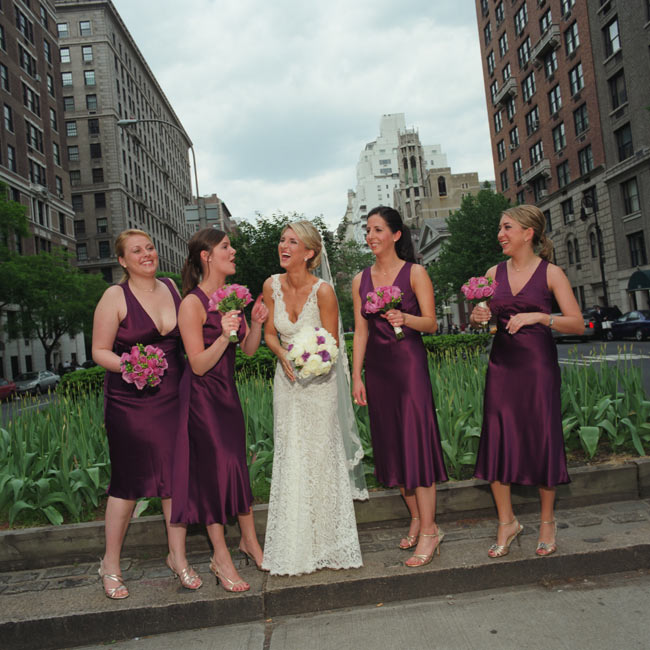 Kimberly's four bridesmaids wore eggplant, silk charmeuse, V-neck dresses with strappy gold sandals. They kept the look casual with loose ponytails and gold, pearl drop necklaces.