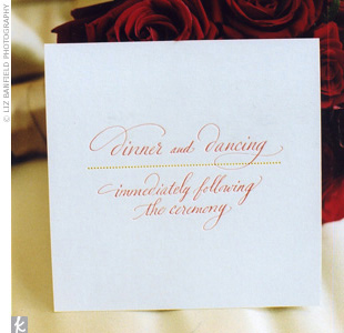 The Lettered Olive -- Guerard's other pet project -- designed white cards with red and yellow letterpress announcing the dinner and dancing portion of the evening.