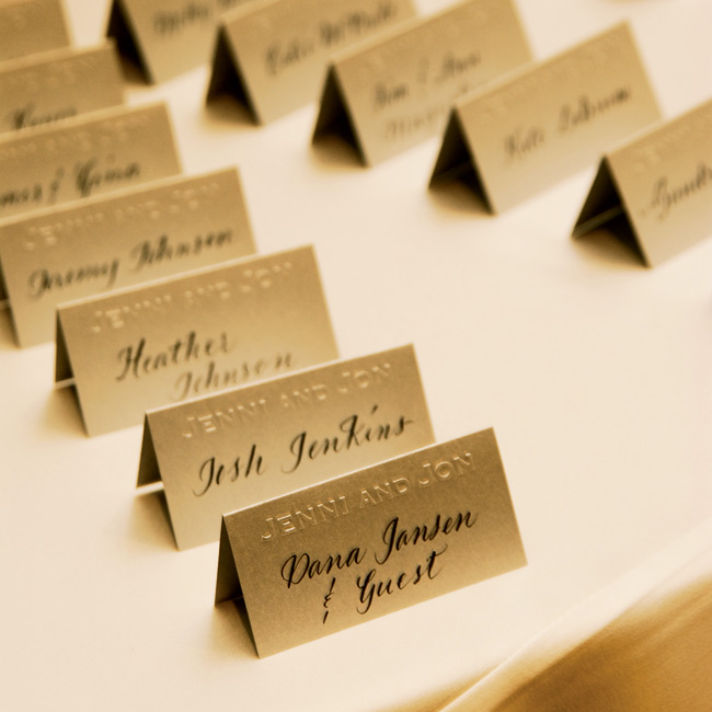 Jenni and Jon's names were featured on all of the tented escort cards, while the guests' names were printed in a dark ink script.