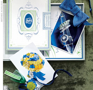 A grand wedding invite -- like a vintage cigar box invitation with custom monogram and label, and matching tented table number and favor tag -- will set the tone for the entire event. 