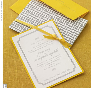 Choose an invitation with graphic appeal like this Palm Springs invitation printed in silver on ivory linen and tied with yellow satin ribbon.