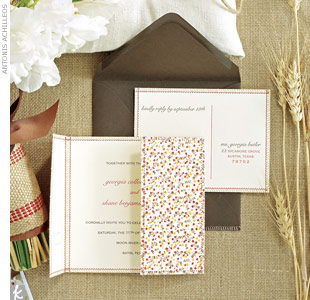 Find an invitation designer that uses patterns and fabrics that will match your style -- or you can sew your own. These hand-sewn gatefold invitations and reply postcard with cotton fabric set the scene for your rustic wedding. 