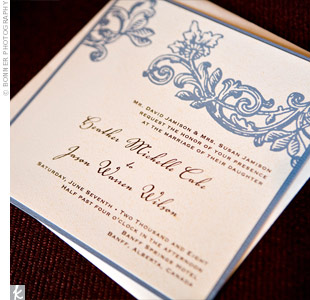 Matching the cool blue Rocky Mountains, the invites had a slate blue border and a decorative, vintage-inspired leaf and floral motif.