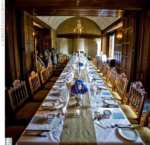 Guests enjoyed an intimate sit-down dinner at a long rectangular table.
