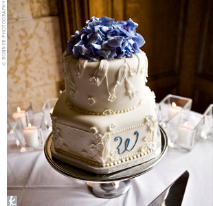 "Hexagonal and circular shapes were combined to create a unique cake design while a floral motif, blue ""W,"" and blue hydrangeas gave it an elegant vibe."