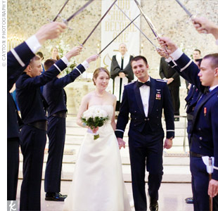 There was no need for decorations at the wedding ceremony. The Air Force Academy Chapel provided a spectacular backdrop for the couple as they exchanged vows. 