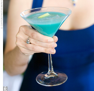 The couple wanted a fun signature drink that matched their color-scheme. Fruity blue Hawaiians did the trick.