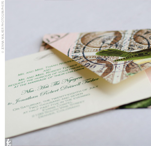 "Hai created the invitations, which featured a green bird on a pink background. ""The invites definitely set the mood of the upcoming wedding and tied in our cake design with the birds,"" she says."