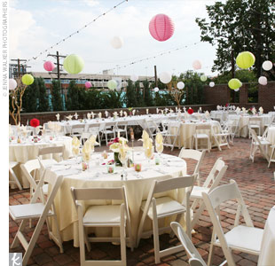 Christmas lights strung with Chinese lanterns of various sizes and colors peppered the entire reception site.