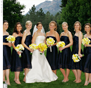 "The seven bridesmaids wore navy, taffeta, cocktail-length, Vera Wang dresses that were ""easy and fun,"" just the way Kate wanted. They tied navy grosgrain ribbons around their waists, while the maid of honor wore an ivory ribbon to stand out. ""I loved the sheer portions at the bottom of the skirt,"" says Kate. ""You could see the shape of their legs,  ..."