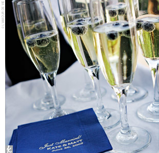 Upon leaving the ceremony, guests were offered glasses of champagne garnished with fresh blueberries.