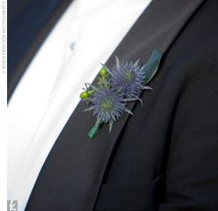 Thayer wore a boutonniere comprised of blue thistle to match the blooms used in Cody's bouquet.